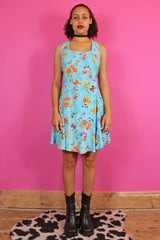 90s Colourful Butterfly Skater Dress