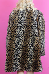 Oversized Leopard Print Faux Fur Coat