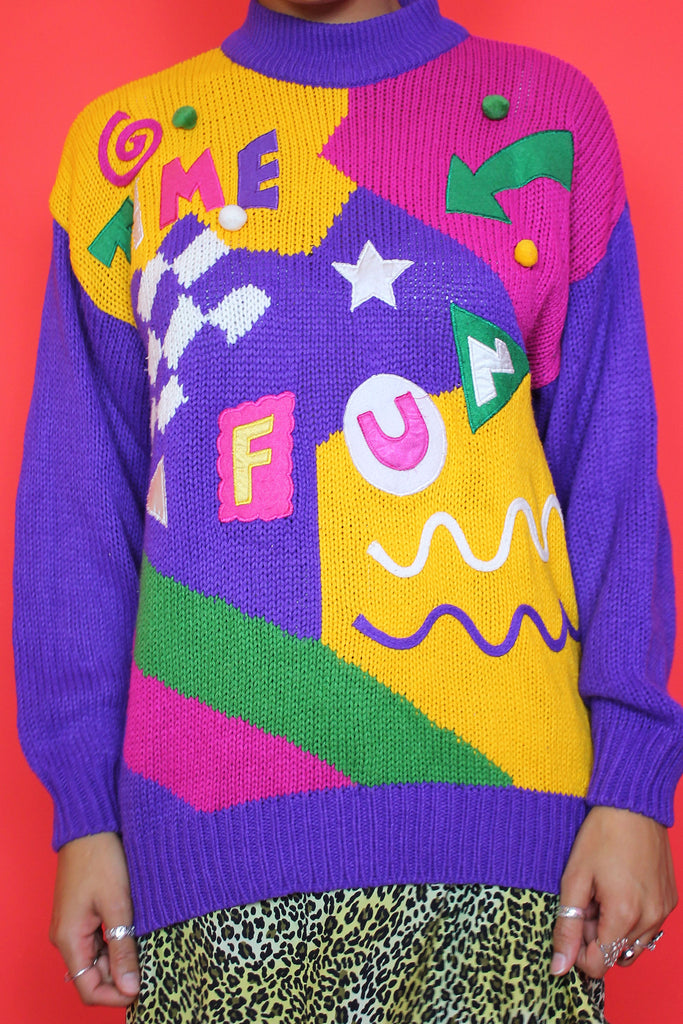 Purple Colourful Novelty Jumper