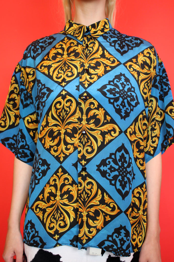Blue, Black & Gold Baroque Shirt