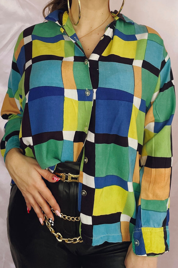 Colourful Patchwork Grid Printed Shirt