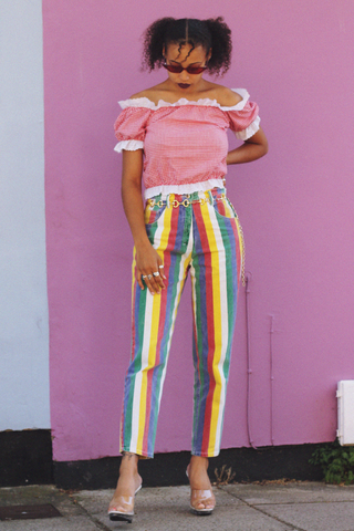 Rainbow Stripe Mom Jeans