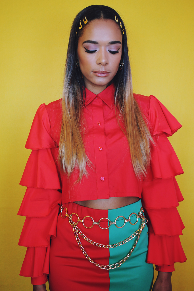 Honey x Sassy World Red Ruffle Shirt