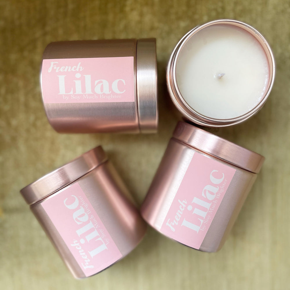 French Lilac // Rose Gold Tin: Lilac + Cedar + Sweetgrass // Mother's Day Candle!