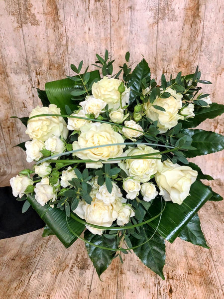 white rose hand tied bouquet