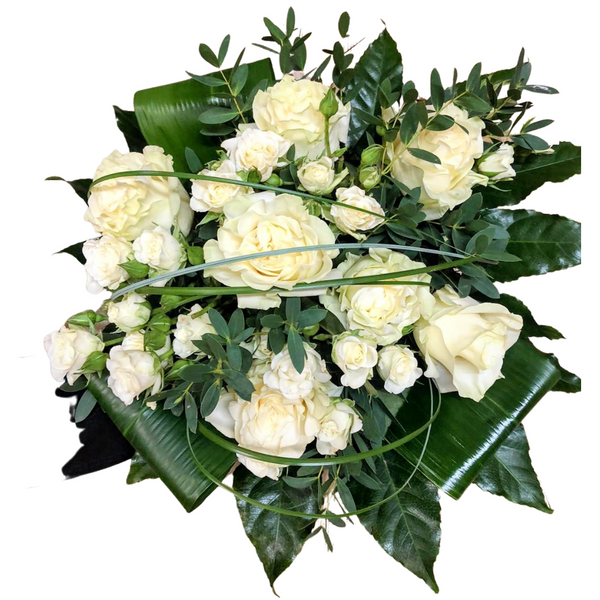 white rose hand tied bouquet no background