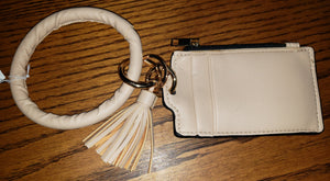 Wristlet Bangle Keychain Zipper Wallet with Tassels