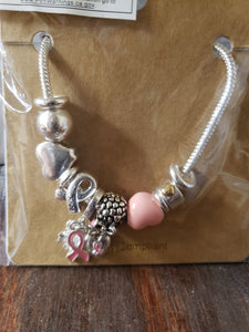 Breast Cancer Awareness Bracelet With Charms