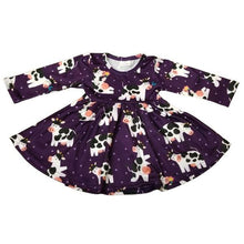 Load image into Gallery viewer, ComfyCute Twirl Dress - Purple Moo Cows