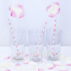 "8"" - 25 Pack White/Red Biodegradable - Floral Paper Drinking Straws"