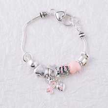 Load image into Gallery viewer, Breast Cancer Awareness Bracelet With Charms