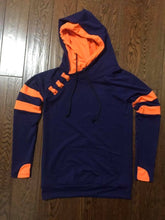 Load image into Gallery viewer, Navy/Orange Varsity Hoodie
