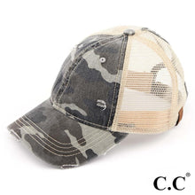 Load image into Gallery viewer, C.C. Brand Ponytail Cap - Distressed Grey Camo