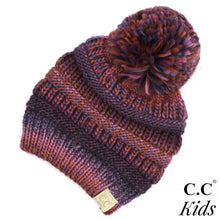 Load image into Gallery viewer, C.C. Kids Multi Color Cable Knit Pom Beanie