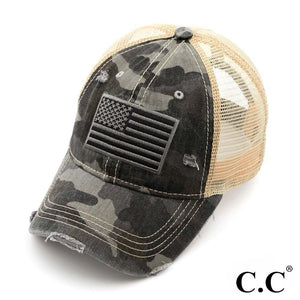 C.C. Brand - Distressed Camo Flag Cap - BA-915