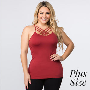 Solid Plus Size Triple Criss Cross Seamless Camisole