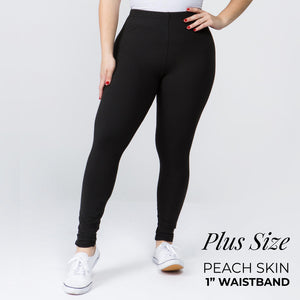 "Plus Size 1"" Waistband Solid Peach Skin Leggings"