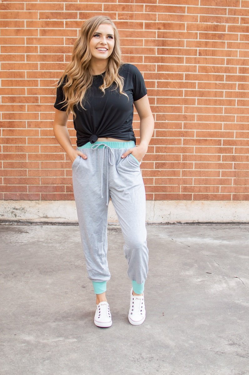 Accent Joggers | Heather Grey & Teal