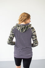 Load image into Gallery viewer, Camo and Stripes Women's Double Hooded Sweatshirt