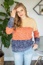 Load image into Gallery viewer, Color Block Knit Sweater | Navy