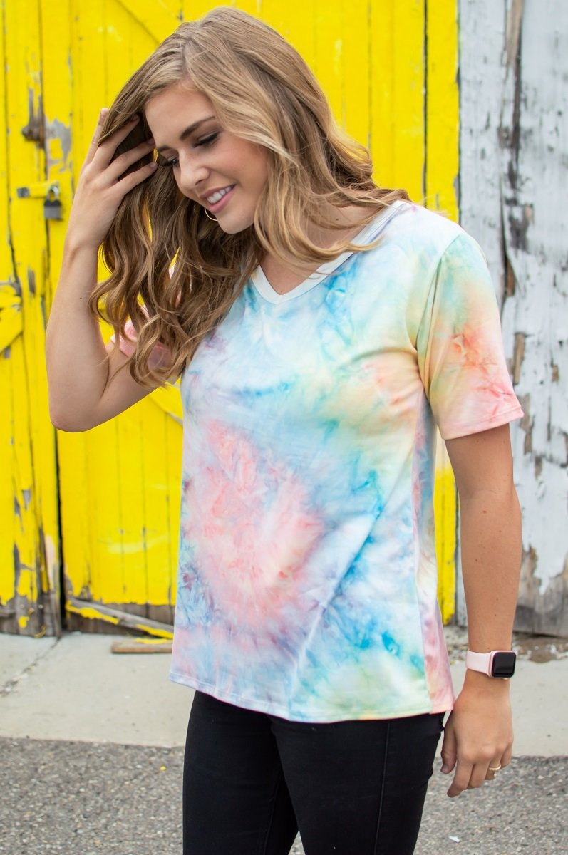In your Dreams V-Neck Tee | Seaside Tie Dye
