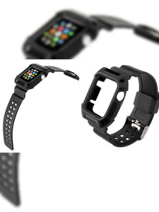 BLACK RUBBER STRAP WITH BUILT IN PROTECTIVE CASE FOR APPLE WATCH