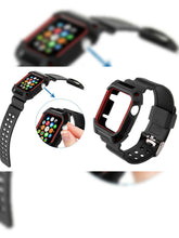 Load image into Gallery viewer, BLACK RUBBER STRAP WITH BUILT IN PROTECTIVE CASE FOR APPLE WATCH