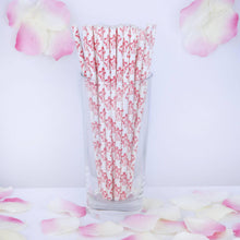 "Load image into Gallery viewer, 8"" - 25 Pack White/Red Biodegradable - Floral Paper Drinking Straws"