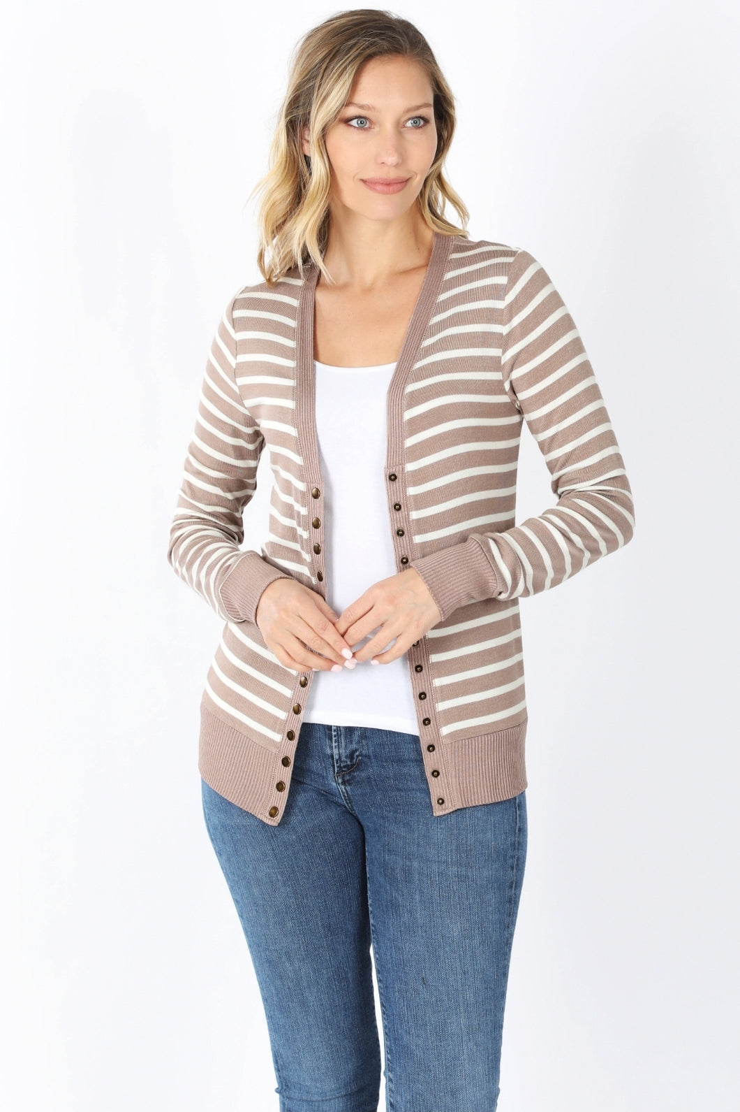 Striped Snap Up Cardigan - Regular - Ash Mocha / Ivory