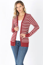 Load image into Gallery viewer, Striped Snap Up Cardigan - Regular - Brick / Ivory