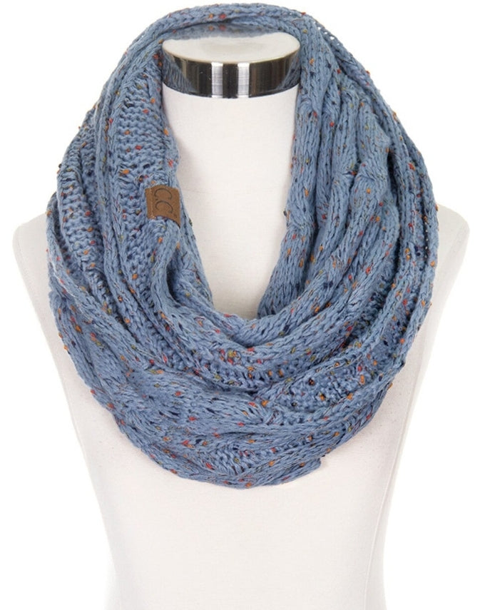 C.C SF-33 Cable Knit Confetti Infinity Scarf