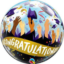 "Load image into Gallery viewer, Qualatex Bubble Balloon (22"") Congratulations Grad Caps - Single - Uninflated"
