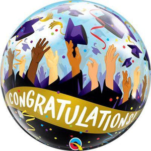 "Qualatex Bubble Balloon (22"") Congratulations Grad Caps - Single - Uninflated"