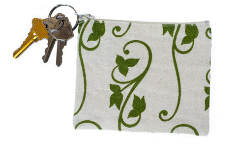 Coin Purse/Keychain - Green Ivy
