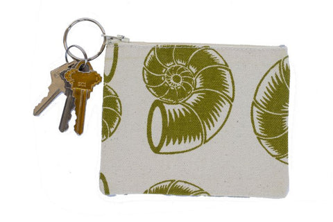 Coin Purse/Keychain - Green Nautilus