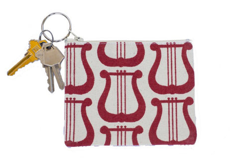 Coin Purse/Keychain - Red Lyre