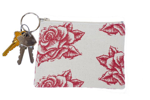 Coin Purse/Keychain - Red Rose