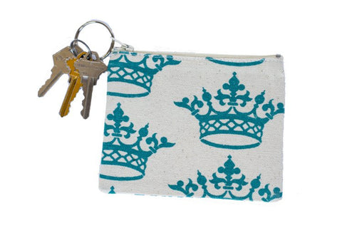 Coin Purse/Keychain - Turquoise Crown