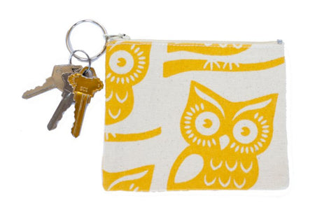 Coin Purse/Keychain - Yellow Owl