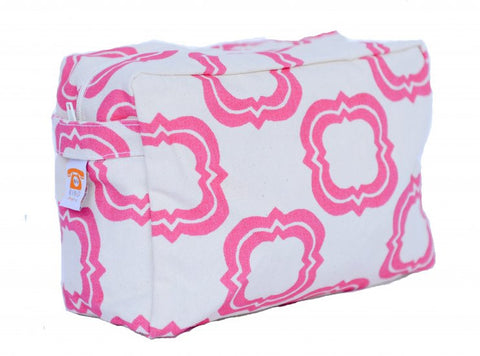Cosmetic Bag - Pink Quatrefoil