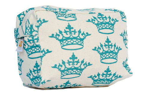 Cosmetic Bag - Turquoise Crown