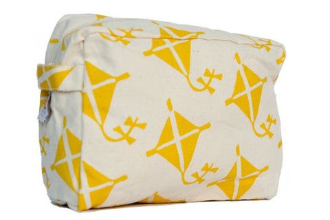 Cosmetic Bag - Yellow Kite