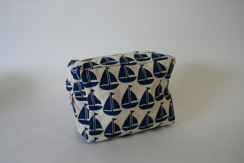 Cosmetic Bag - Navy Sailboat
