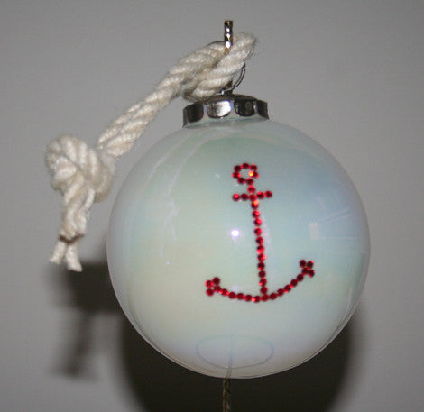 Ornament - Anchor (White Ornament, Red Anchor)
