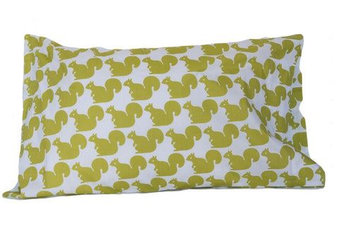 Pillow Case - Green Squirrel