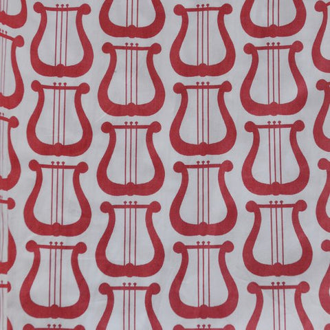 Fabric - Red Lyre