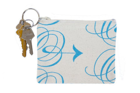 Coin Purse/Keychain - Blue Arrow