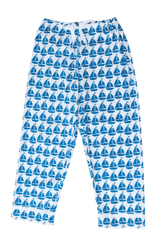 Pajama Pants - Navy Sailboat