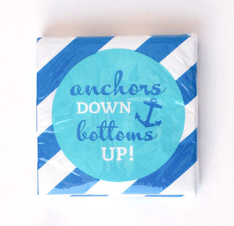 anchors DOWN bottoms UP! - Beverage Napkins