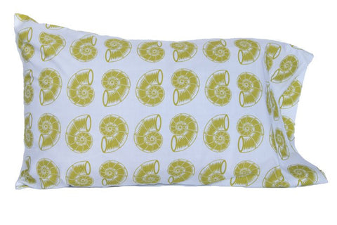 Pillow Case - Green Nautilus Shell